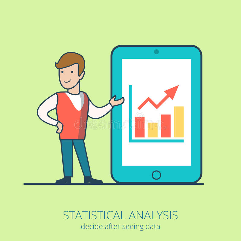 Lineart business people statistical analysis flat stock illustration