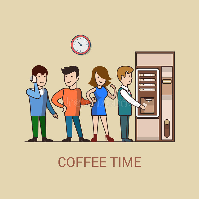 Free Lineart Coffee Break Concept Flat Coffee Machine D Royalty Free Stock Photo - 73371735