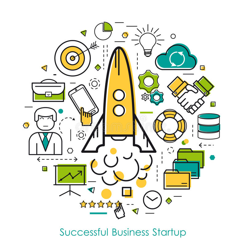 LineArt Concept Business Start Up. Vector round concept of business start up or company speed growth in thin line style. The rocket rises, businessman,goal and royalty free illustration