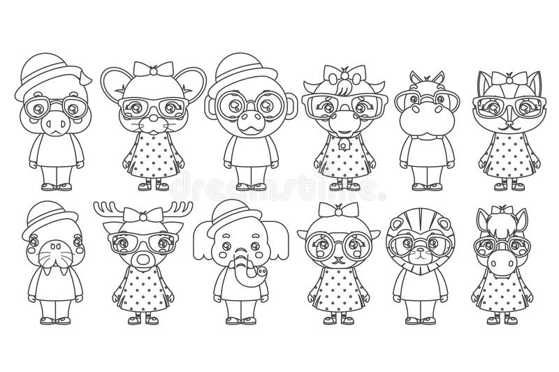 Lineart cute animal boy girl cubs mascot cartoon children icons set coloring book design vector illustration stock illustration