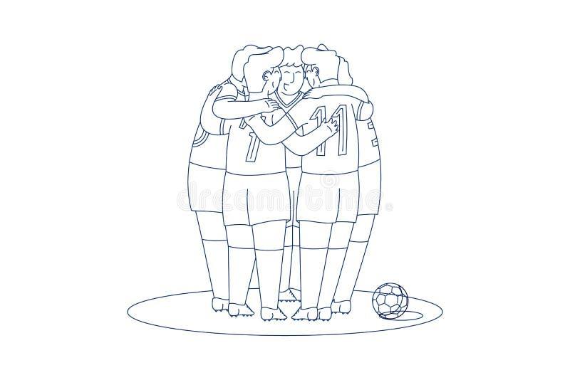 Lineart del vector del equipo de fútbol stock de ilustración