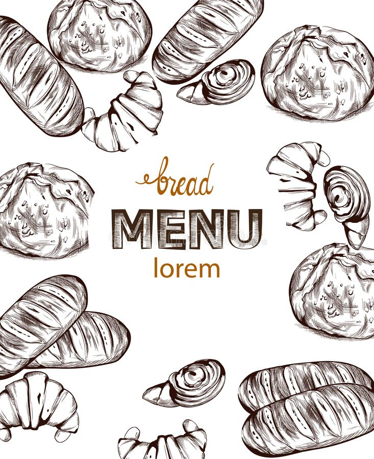 Lineart do vetor do pão Decorações caseiros do menu da padaria do vintage ilustração royalty free