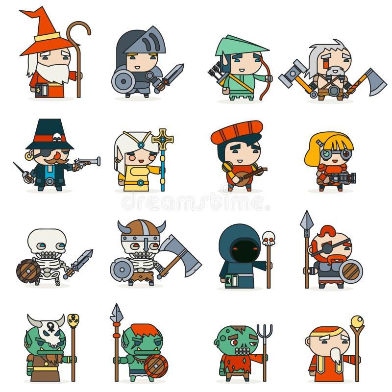 Lineart fantazi RPG bohaterów czarnych charakterów kolonel charakteru projekta wektoru Gemowe Wektorowe ikony Ustawiająca Płaska  ilustracja wektor