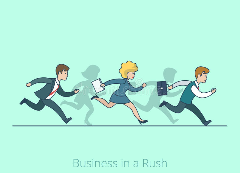 Lineart flat style Business cartoon concept man wo stock illustration