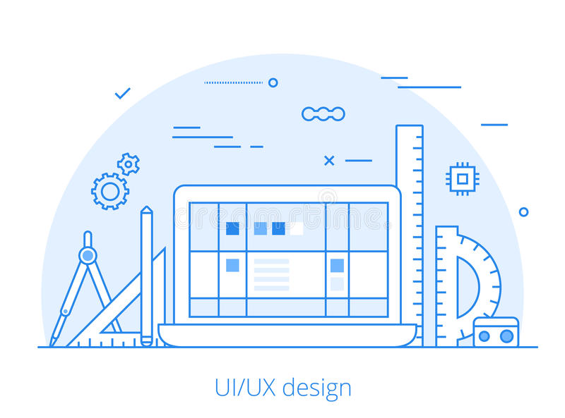 Lineart Flat UI/UX interface design web site. Hero image vector illustration. User experience, projecting and testing app and software concept. Laptop vector illustration
