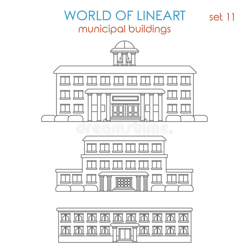 Lineart graphical vector architecture public municipal building royalty free illustration