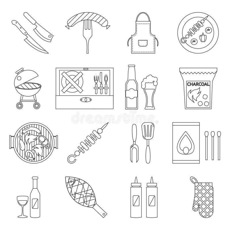 Lineart grilla grilla stku natury przyjęcia projekta kulinarnego mięsnego pyknicznego isometric konturu kształta dekoracyjne ikon ilustracji