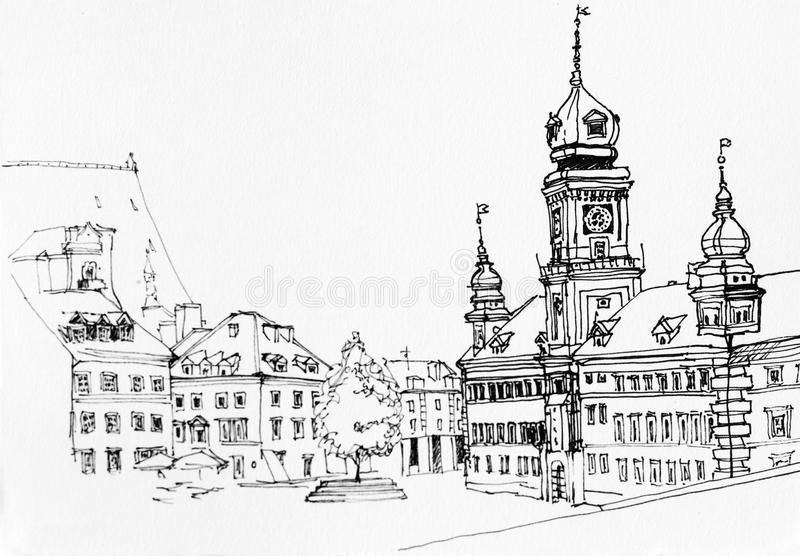 Lineart ink drawing of Warsaw main square landscape, old town vi. Ew illustration, Poland royalty free illustration
