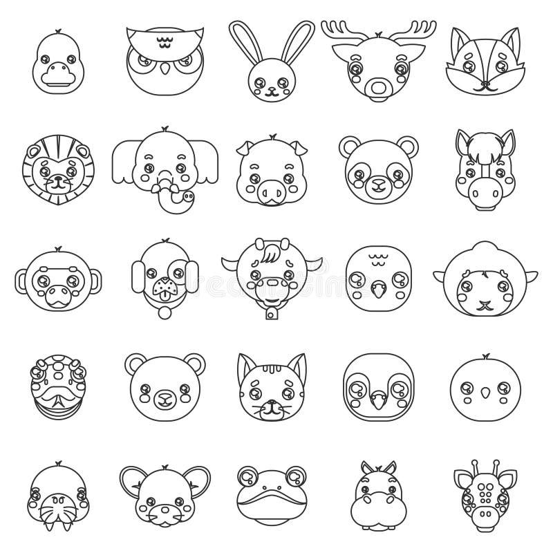 Lineart lokalisierte der Babykarikaturjungen der Tiere nette des Designkopfes flache Charakter-Vektorillustration Ikonen eingeste stock abbildung