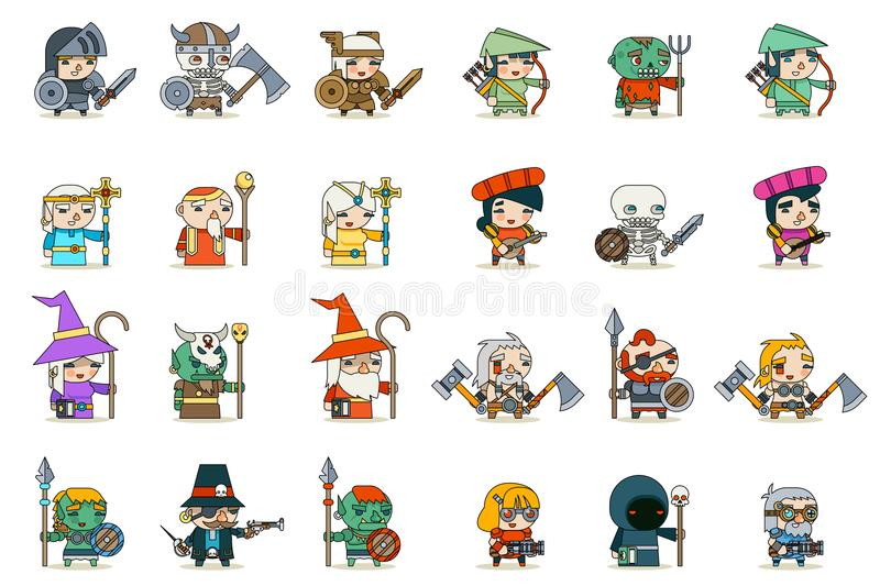 Lineart Male Female Fantasy RPG Game Character Vector Icons Set Vector Illustration royalty free illustration