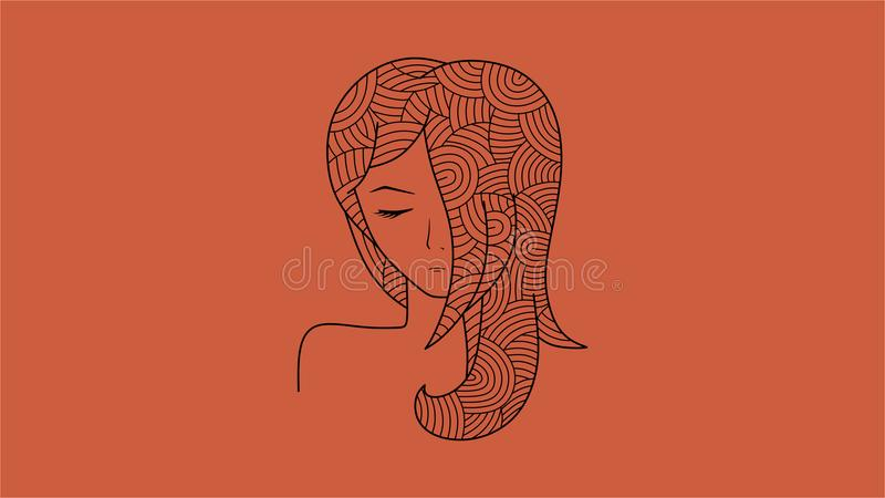 Lineart simple d'une fille illustration stock