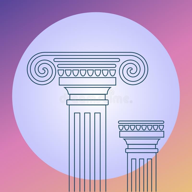 Lineart sul greec antico di vettore di architettura del fondo royalty illustrazione gratis