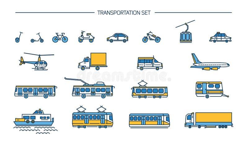 Lineart symbolsuppsättning med jordtransport, flyg och vattentrans. på vit bakgrund Samling med cykeln, buss vektor illustrationer