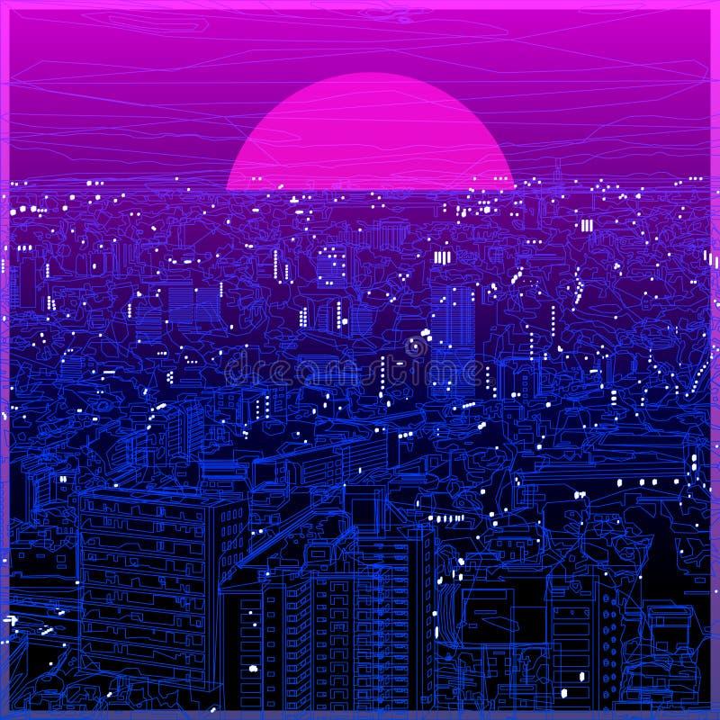 Lineart ultravioletto di paesaggio urbano nella poli progettazione bassa royalty illustrazione gratis
