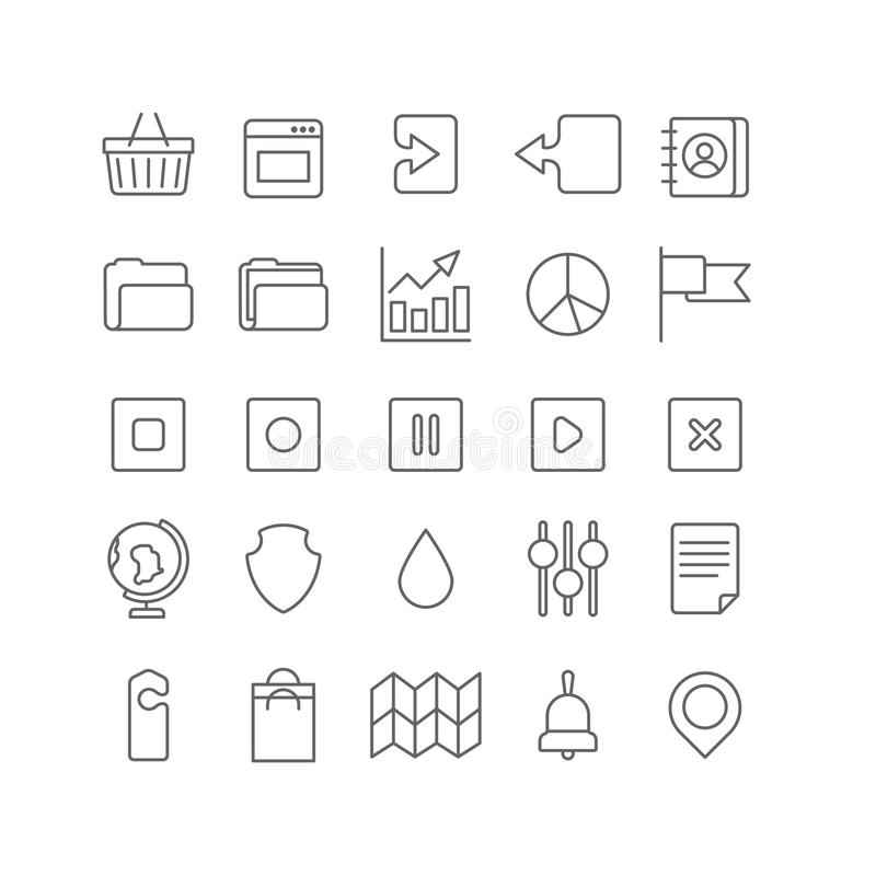 Lineart vector flat web site mobile interface app line art icons. Line art style flat graphical set of web site mobile interface app icons. Shopping cart window vector illustration