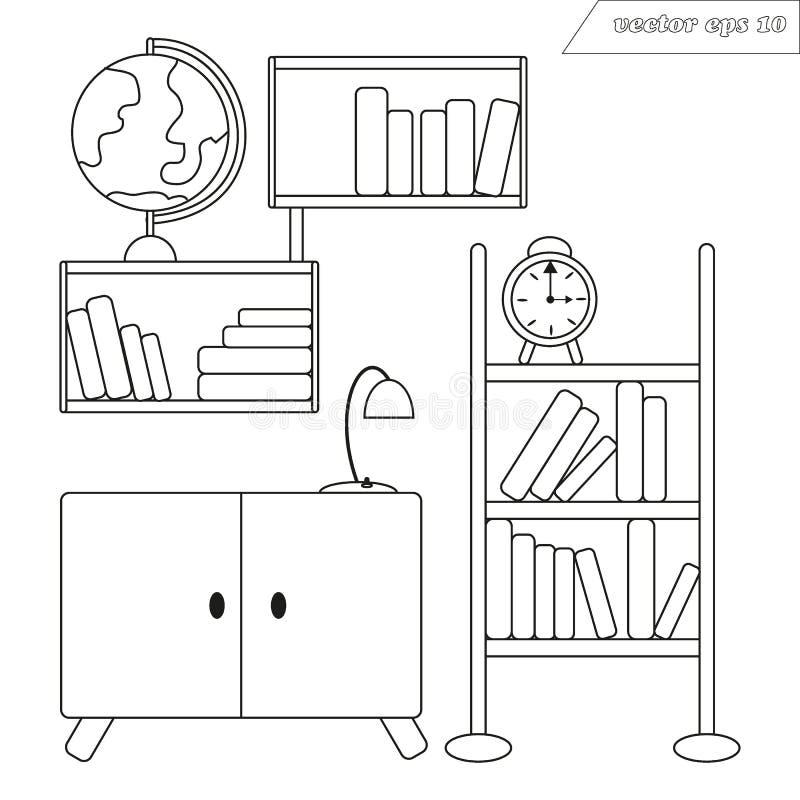 Lineart-Vektor-Raumdekoration mit Regalen von Büchern und von Kugel lizenzfreie abbildung