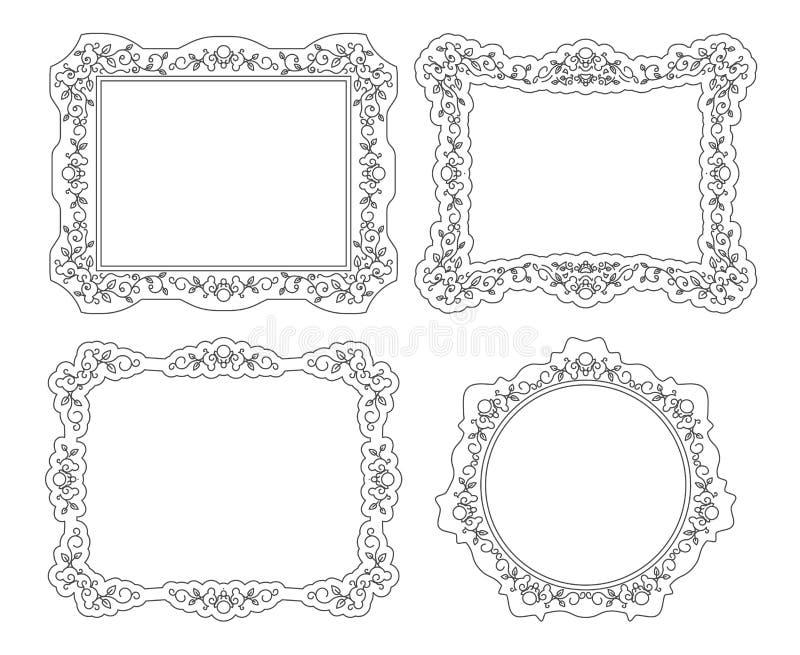 Lineart vintage photo picture portrait frames set vector illustration vector illustration