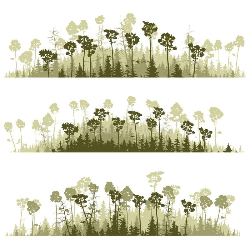 Lineas horizontales de la madera conífera de las siluetas. stock de ilustración