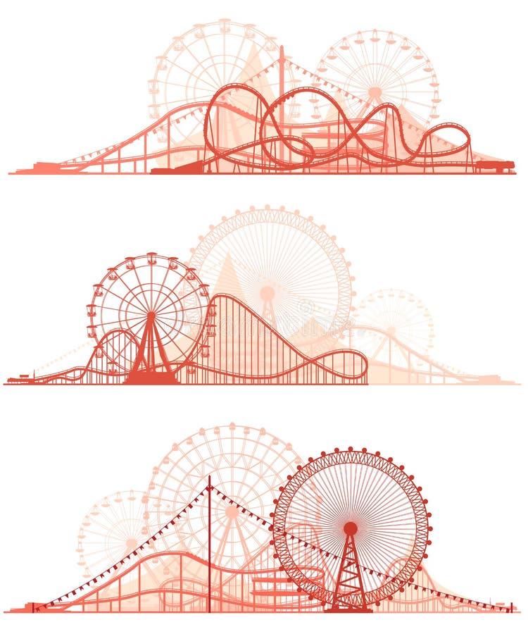 Lineas horizontales de la montaña rusa y de Ferris Wheel stock de ilustración