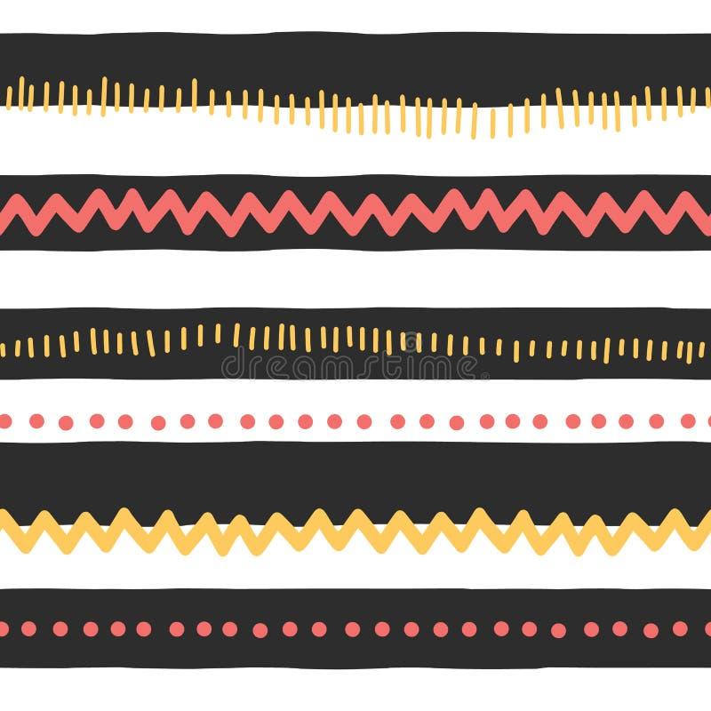 Lineas horizontales del vector del extracto inconsútil del modelo, zigzag, puntos, rayas Garabatos rojos y amarillos en fondo bla libre illustration