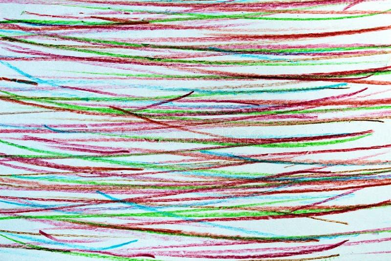 Lineas horizontales dibujadas en lápiz en diversos colores stock de ilustración