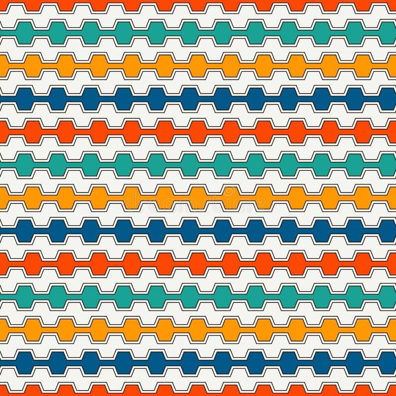 Lineas horizontales vivas fondo Modelo inconsútil con el ornamento geométrico Raya adorno Papel pintado brillante ilustración del vector