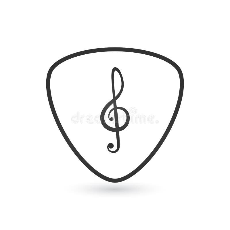 Lineat gitarrhacka och illustration för vektor för musikklavsymbol som isoleras på vit bakgrund vektor illustrationer