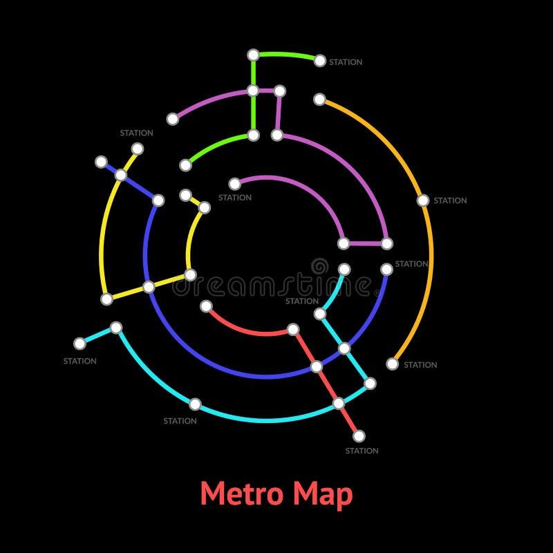 Linecard för färg för tunnelbanaöversiktstecken rund tunn vektor royaltyfri illustrationer