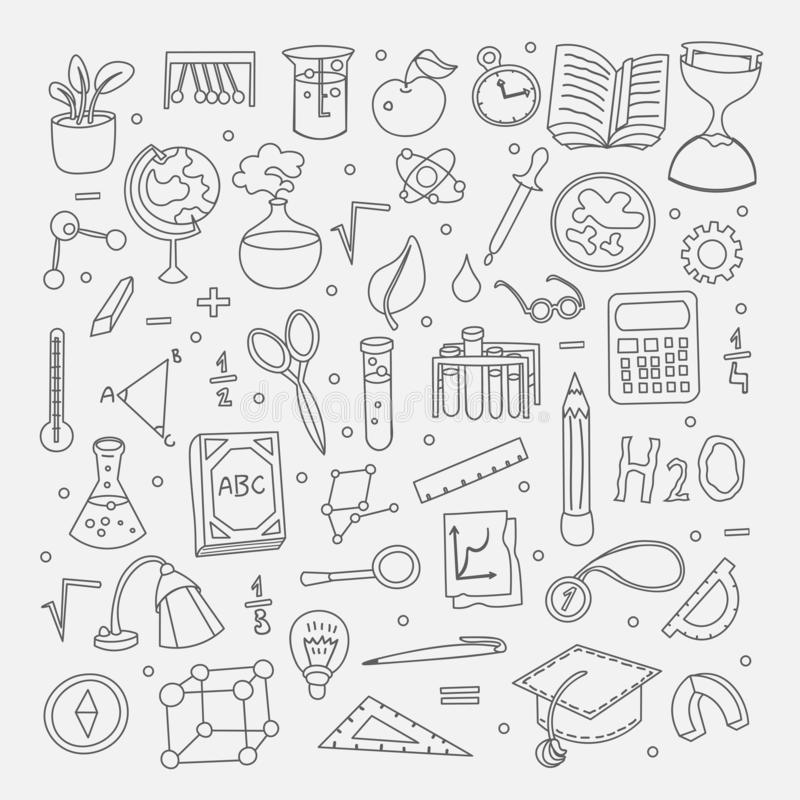 Lined Back to School supplies, elements and objects. Autumn back to school supplies in funny doodle cartooning design. School supplies icon collection royalty free illustration