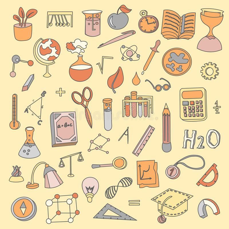 Colored Funny Back to School supplies, elements and objects. Autumn back to school supplies in funny doodle cartooning. Lined Back to School supplies, elements royalty free illustration