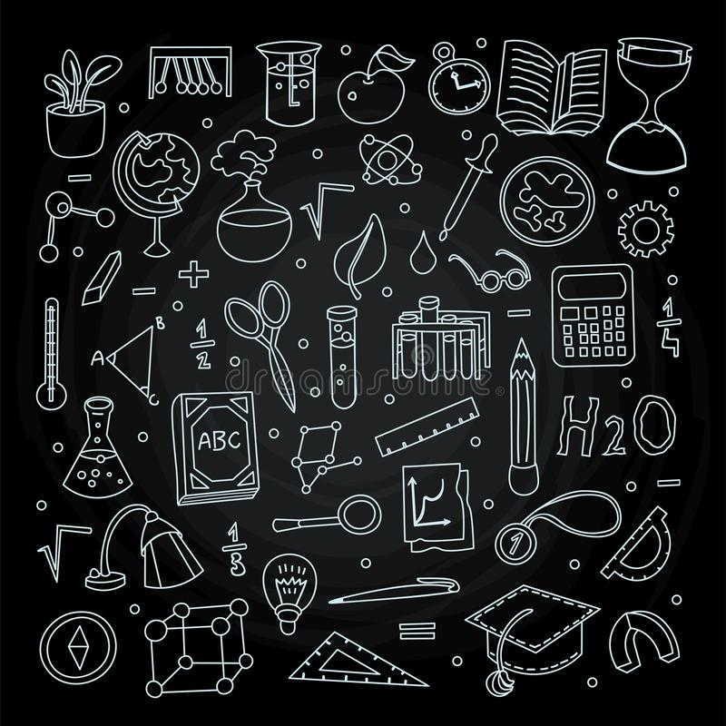 Lined Back to School supplies, elements and objects. Autumn back to school supplies in funny doodle cartooning design. School supplies icon collection stock illustration