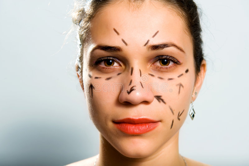 Lined face for cosmetic surgery royalty free stock photos