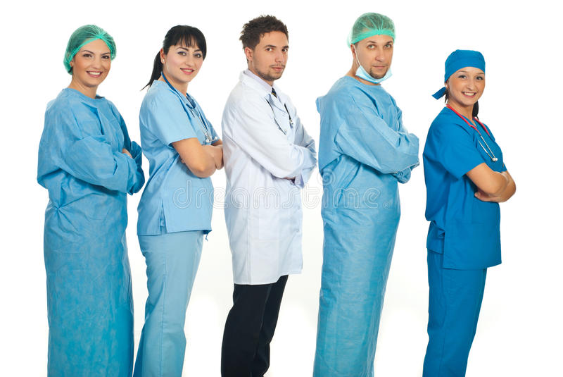 Lined Five Doctors In Profile Royalty Free Stock Photo
