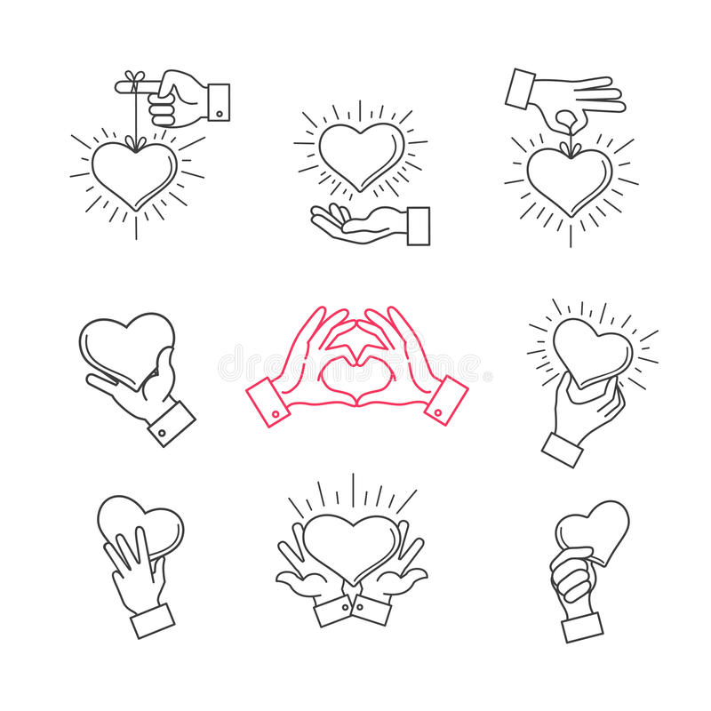 Lined hand love signs. Vector hands making heart shape. Symbol of love, heart in hands illustration vector illustration