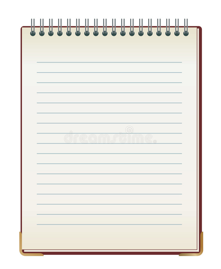 Lined note pad stock illustration