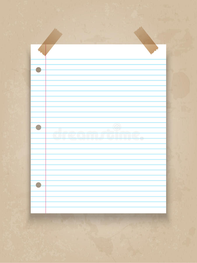 Lined paper on grunge background royalty free illustration