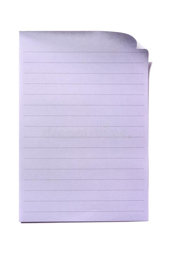 Lined Paper Page Sheet Isolated White Background Stock Image - Image ...