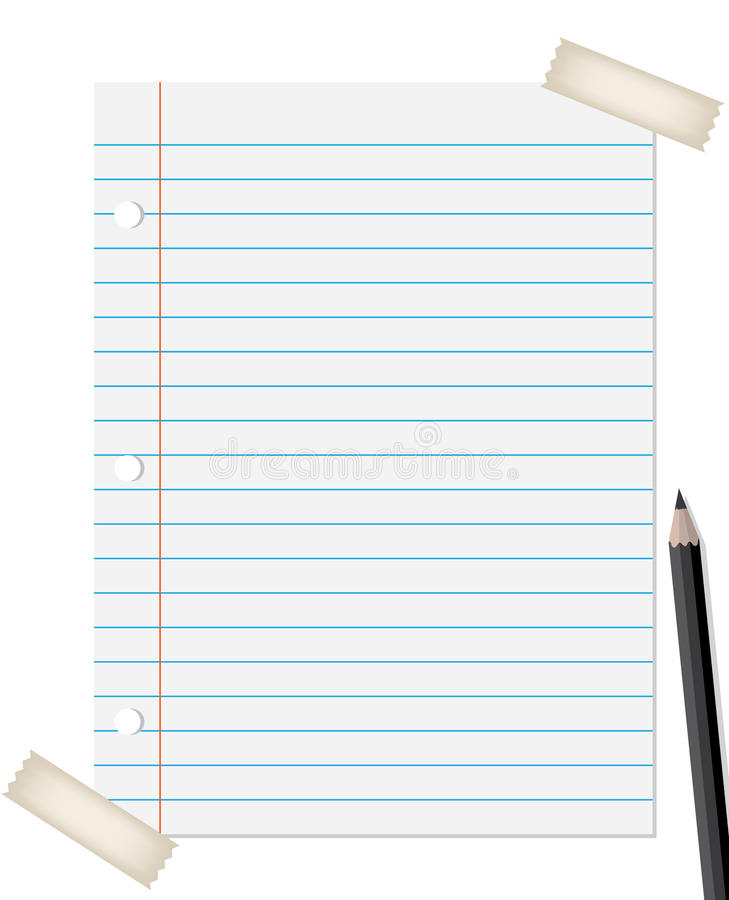 Lined Paper With Pencil Royalty Free Stock Photos