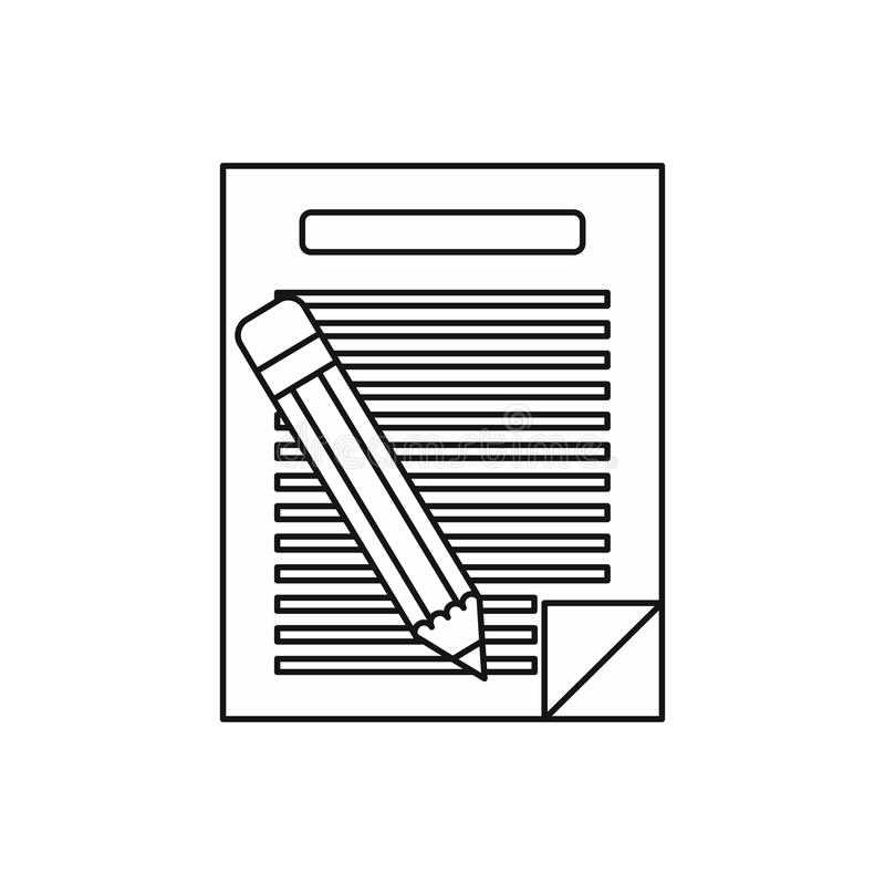 Lined paper and pencil icon, outline style stock illustration