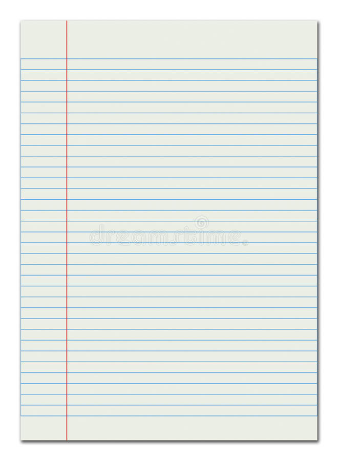 Lined paper red margin stock illustration