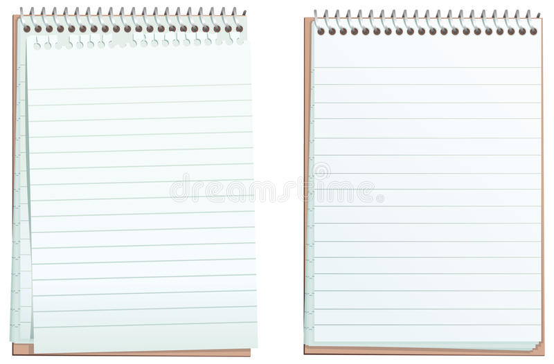 Lined ringbound notepads. Two illustrations of a typical lined ring-bound notepad, one with a torn top sheet. Both blank for your own message. E.P.S. 10 vector stock illustration