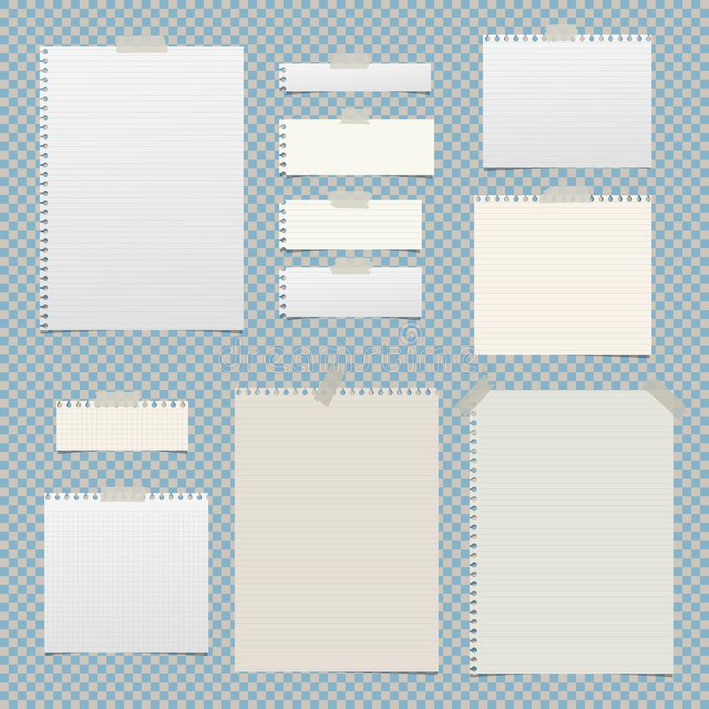 Lined, striped, notebook, notepad paper sheets for note or message stuck with sticky tape on squared background. vector illustration