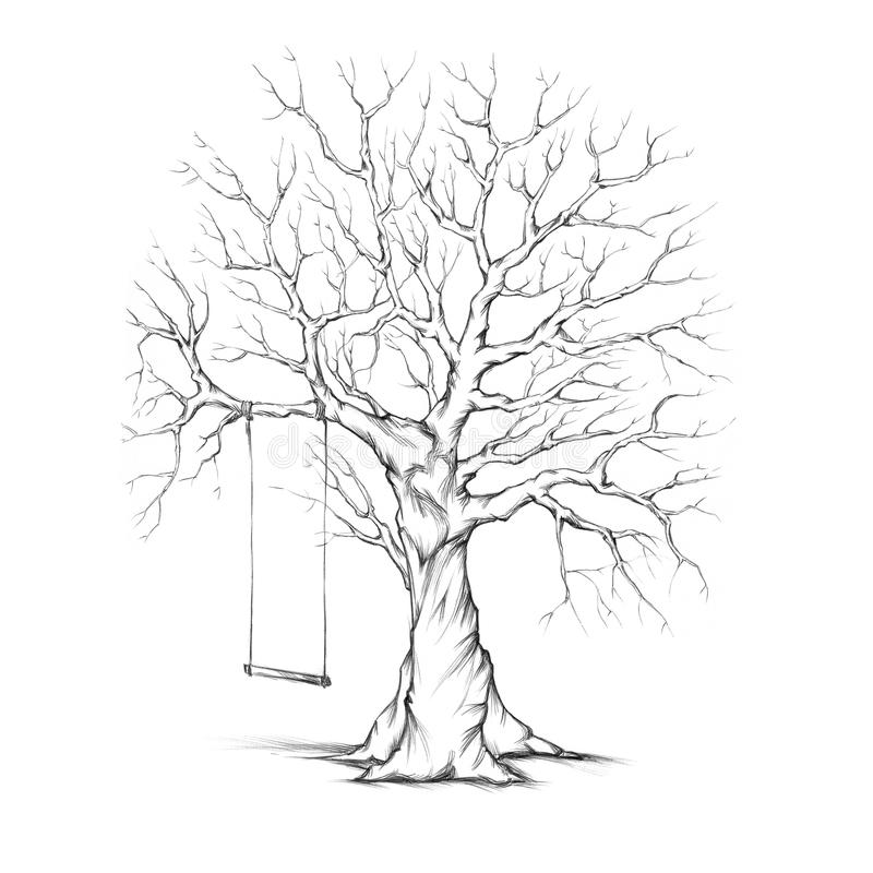 Grim Gloomy Ink Tree - Dark Abstract Vector Linear Contour
