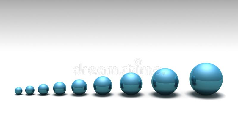 Lined up spheres stock photo