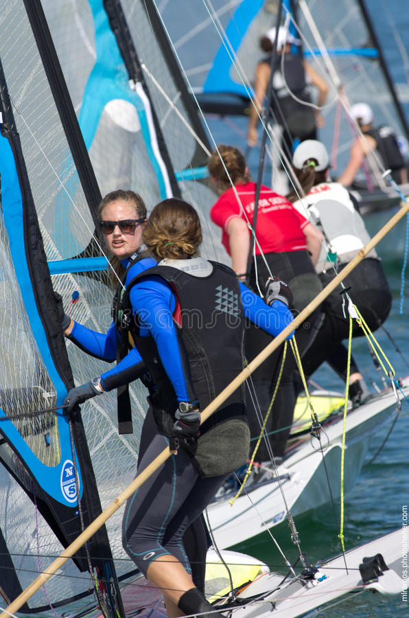 Lined up at the start during 49erFX North American championships in Miami royalty free stock images