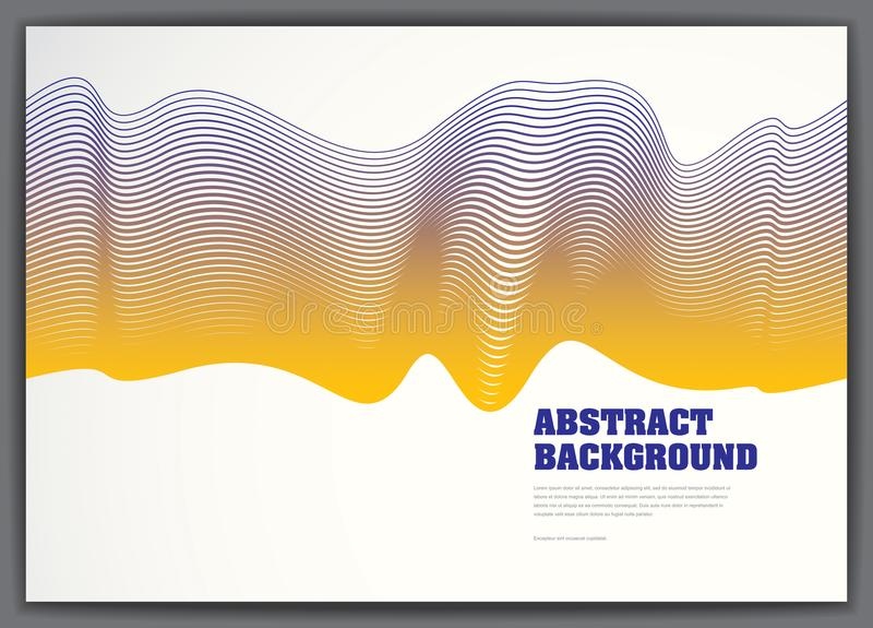 Lined vector wave background fluid flow. 3d dynamic stripes motion art. Lined texture, dynamic surface, curve lines, flow shape. royalty free illustration