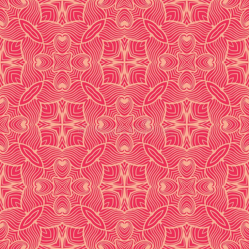 Lined waves seamless pattern background illustration in reddish pink tone. Seamless background pattern for use in fabrics , web backgrounds , art , styling stock illustration