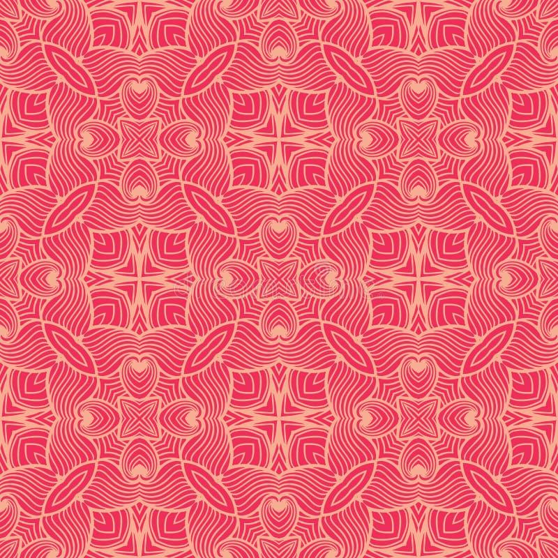 Lined waves seamless pattern background illustration in reddish pink tone stock illustration