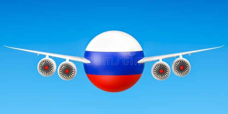 Linee aeree e flying& russi x27; s, voli al concetto della Russia 3d ren illustrazione vettoriale