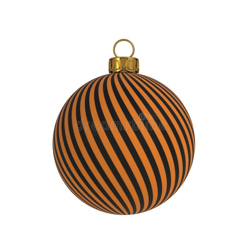 Linee arancio ricordo d'attaccatura dell'avvolgimento del nero della decorazione di notte di San Silvestro della palla di Natale  illustrazione vettoriale